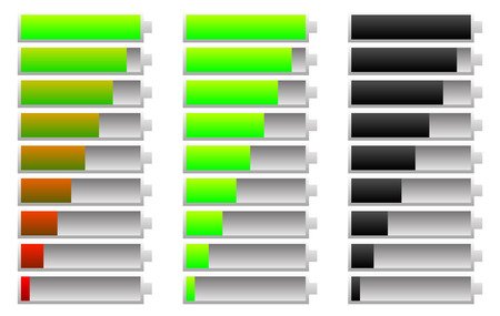 recharging: Battery indicator set. Energy conservation, consumption. Charging, recharging concepts. Illustration