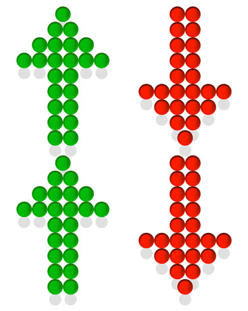 green arrows: Set of dotted up and down arrows. Red and green arrows pointing upward, downward
