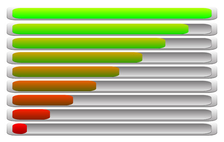 horizontal: Horizontal progress indicator, progress bar set