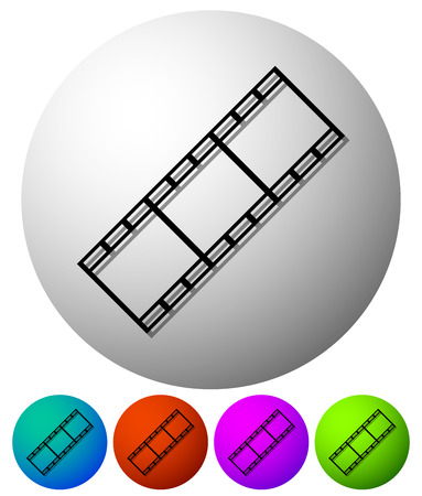 filmstrips: Circle icons with filmstrips. 5 colors included.