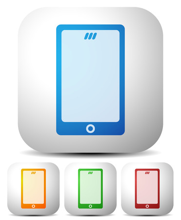 mobil: Mobile, smart phone vector icons. Set of 4 colors to match your design. Illustration