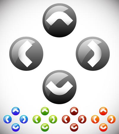 move controller: Four way arrow, button with arrows. Vector Illustration.