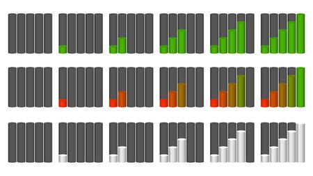 progression: Vector set of indicators. Progression, fullness, steps or phases. Vector Illustration.