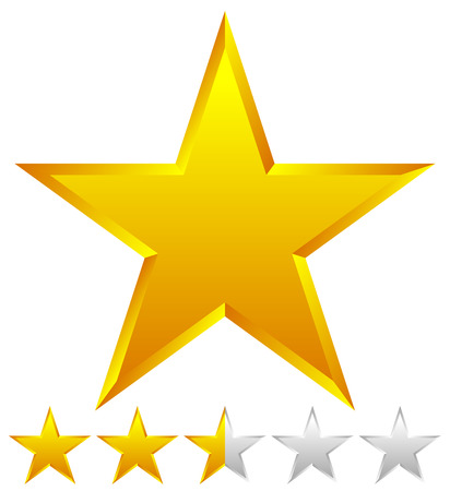 five stars: 3d beveled star with rating. Vector Illustration.