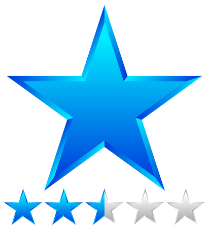beveled: 3d beveled star with rating. Vector Illustration.