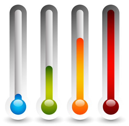 hotter: Thermometer set. Vector illustration. Cold, hot temperatures.
