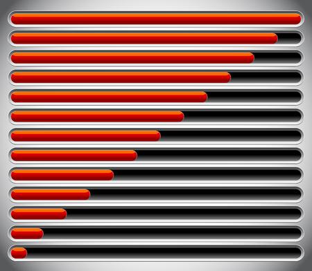 rating gauge: Progress, loading bars. Horizontal bars for measurement, comparison.