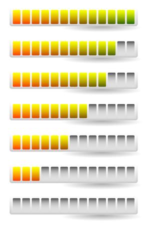 metre: Progress, loading bars. Horizontal bars for measurement, comparison.