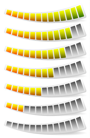 rating meter: Progress, loading bars. Horizontal bars for measurement, comparison.