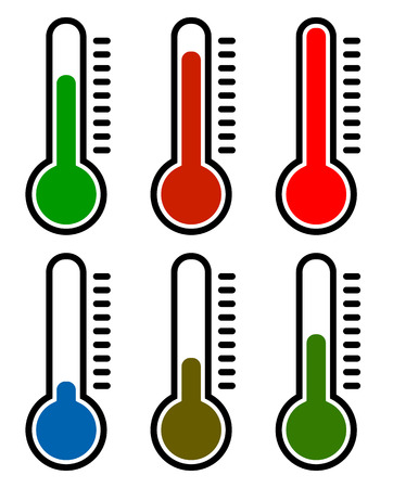 thermo: Thermometer set. Vector illustration. Cold, hot temperatures.