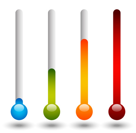 yellow fever: Thermometer set. Vector illustration. Cold, hot temperatures.
