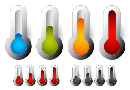 thermostat: Thermometer set. Vector illustration. Cold, hot temperatures.