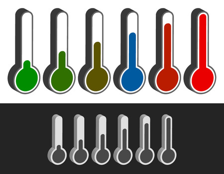 coldness: Thermometer set. Vector illustration. Cold, hot temperatures.
