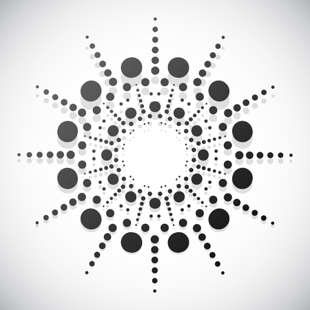 centric: Concentric dots, circles. Dotted abstract element, abstract pattern on white. Vector illustration.