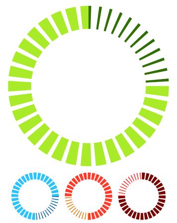 segmented: Preloader or buffer shapes, circular elements, symbols. User interface concept. Step, completion, phase, progress indicators, segmented circles.