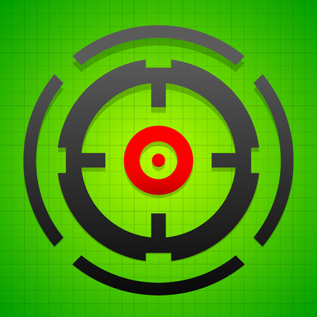 reticle: Targetmark, crosshair, reticle on green gridded background.
