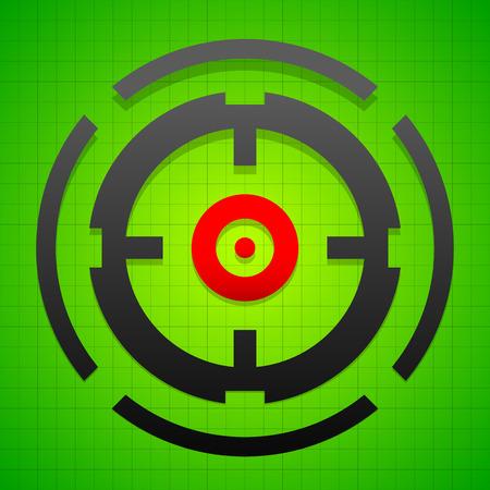 marksman: Targetmark, crosshair, reticle on green gridded background.