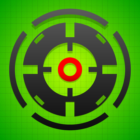 Targetmark, crosshair, reticle on green gridded background.