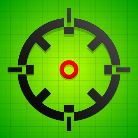 marksman: Targetmark, crosshair, reticle on green gridded background.