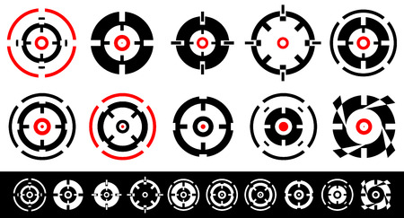 reticule: Set of 10 target marks, cross-hairs, reticle shapes.