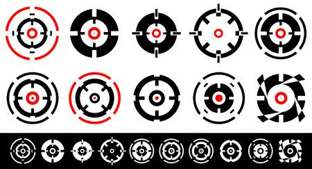 marksmanship: Set of 10 target marks, cross-hairs, reticle shapes.