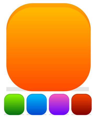 roundness: Empty rounded icon, button backgrounds with different level of roundness. Orange, green, blue, purple and red colors.
