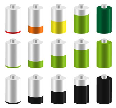 capacity: Level, progress indicators, battery level indicators. Editable vector. Illustration
