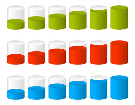3d Cylinders. Level, completion, fullness, step or progress indicators.