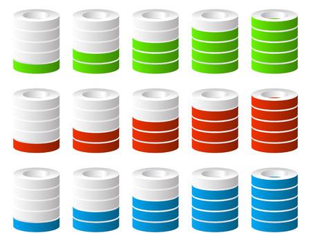 fullness: 3d Cylinders. Level, completion, fullness, step or progress indicators.