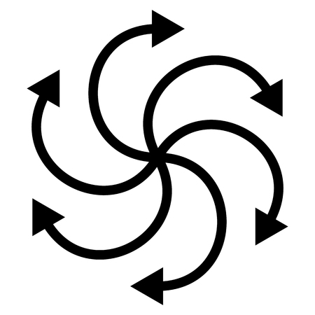cyclic: Cyclic, rotating curved arrows on white. editable. Vettoriali
