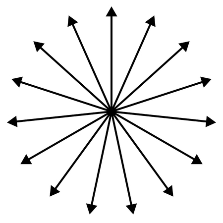 emitting: Straight lines spreading outside from center, black arrows like spokes.