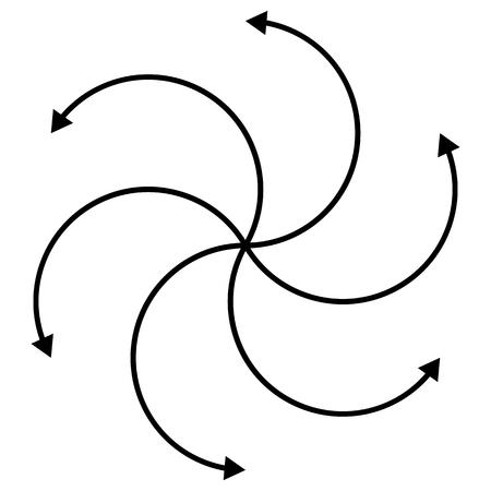 c�clico: C�clica, rotando flechas curvas en blanco. editable. Vectores