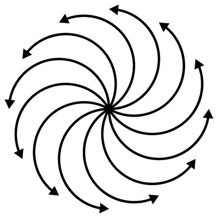 flechas curvas: Cíclica, rotando flechas curvas en blanco. editable. Vectores