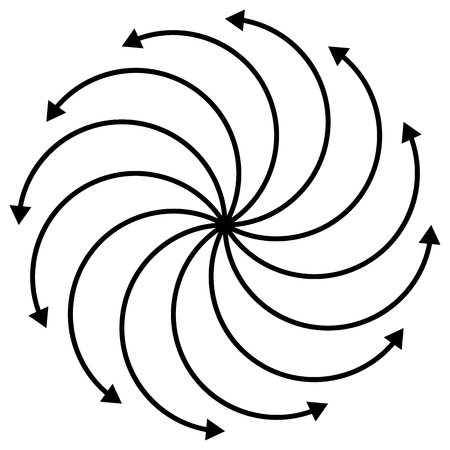 curved arrows: Cyclic, rotating curved arrows on white. editable. Illustration