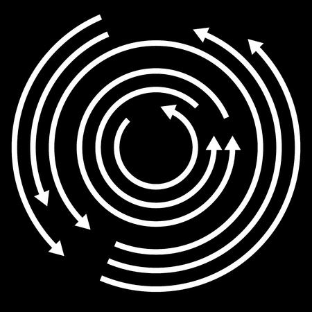 arrows circle: Concentric circulating, rotating arrows, circle arrows. Vector.