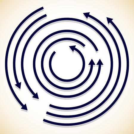 circular arrow: Concentric circulating, rotating arrows, circle arrows. Vector.