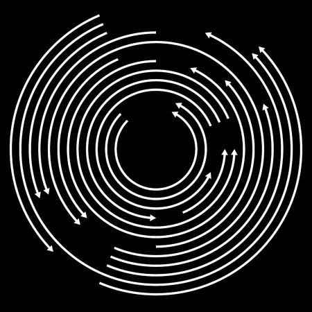 flechas curvas: Conc�ntricos circulantes, girando flechas, flechas de c�rculo. Vector.