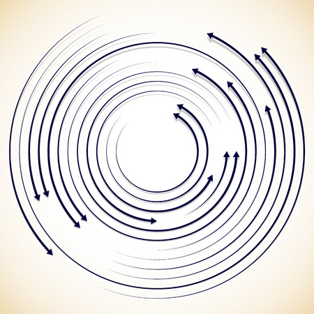 circulos concentricos: Concéntricos circulantes, girando flechas, flechas de círculo. Vector.