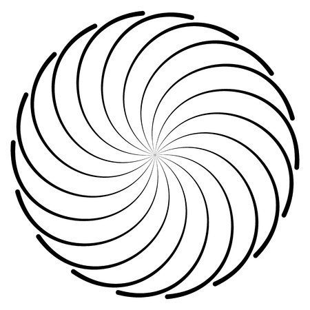 Abstract spirally shape, motif. vector. Twirling, curved radiating lines. Illustration