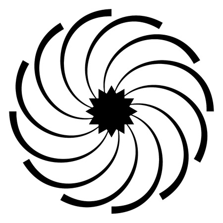twirling: Abstract spirally shape, motif. vector. Twirling, curved radiating lines. Illustration