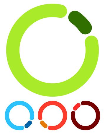 buffer: Preloader or buffer shapes, circular elements, symbols. User interface concept. Step, completion, phase, progress indicators, segmented circles.
