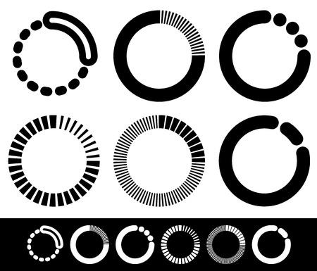 Preloader or buffer shapes, circular elements, symbols. User interface concept. Step, completion, phase, progress indicators, segmented circles.