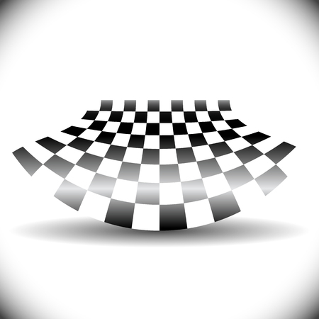 checkered: Abstract checkered flag on white with shadow.