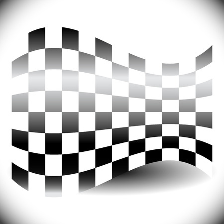 checker flag: Abstract checkered flag on white with shadow.