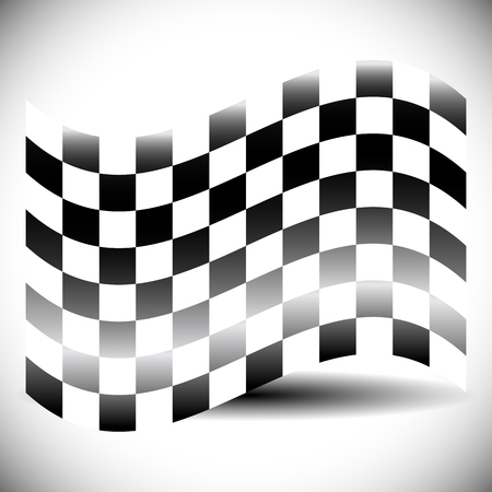 white flag: Abstract checkered flag on white with shadow.