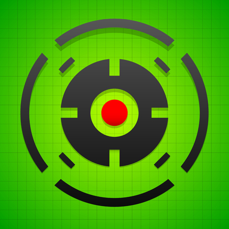 hindsight: Targetmark, crosshair, reticle on green gridded background.