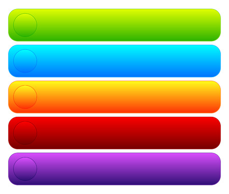 blank button: Colorful button templates with blank space, rounded corners.