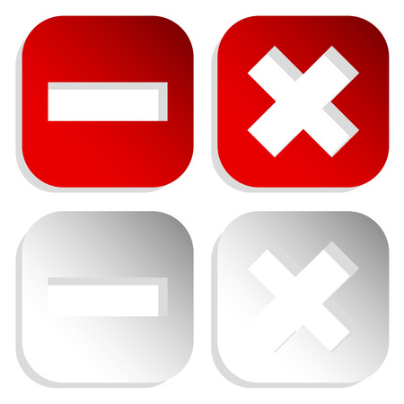 Set of buttons with cross and minus signs. Delete, remove, close, exit buttons, icons.