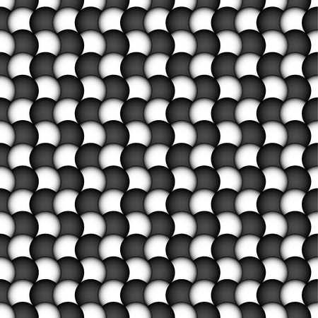 undulating: Circles seamless pattern. Black and white abstract background. Repeatable.