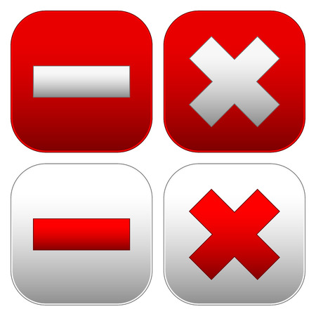 exclude: Set of buttons with cross and minus signs. Delete, remove, close, exit buttons, icons.